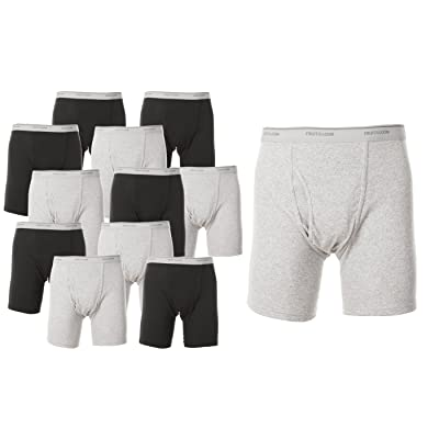 Fruit of the Loom Men's Cotton Performance Boxer Briefs (12 Pack) at Men's Clothing store