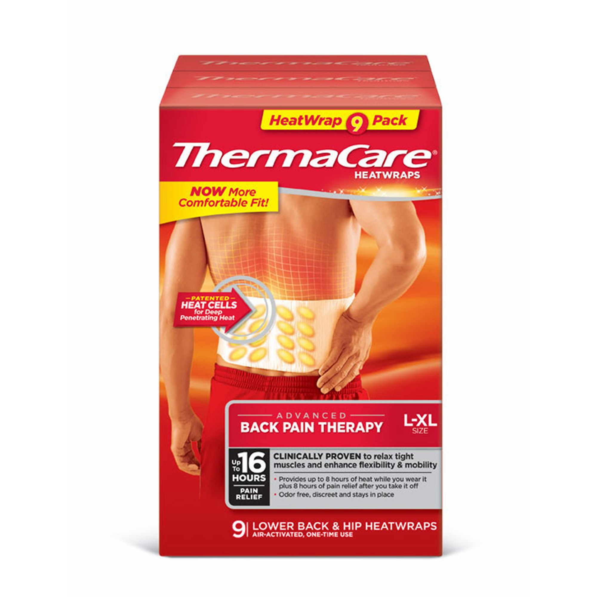 ThermaCare Lower Back and Hip Heat Wraps, 9 ct. (pack of 6)