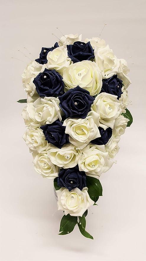 Fiori Con D.Navy E Avorio A Goccia Matrimonio Bouquet Di Fiori Con Glitter E