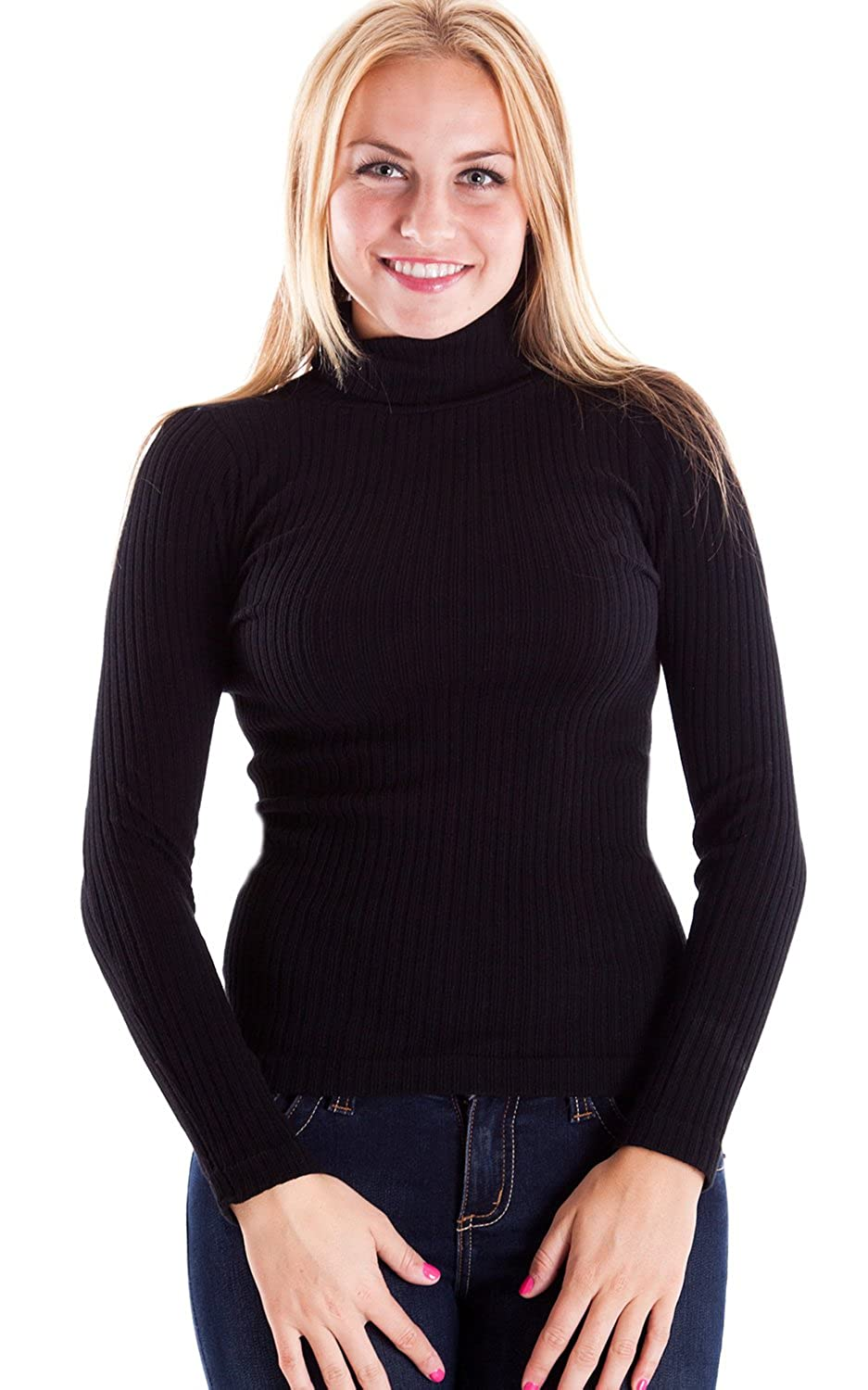 Ladies Black Seamless Ribbed Long Sleeve Turtleneck Top at Amazon ...