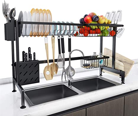 Amazon Com Himimi Over The Sink Dish Drying Rack Stainless Steel Large Dishes Drainer For Kitchen Organizer Counter Storage Shelf Black Counter Space Saver Display Stand With Utensil Holder Kitchen Dining