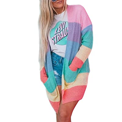 ZESICA Women's Long Sleeve Rainbow Color Block Open Front Drape Oversized Knitted Sweater Cardigan with Pockets at Women's Clothing store