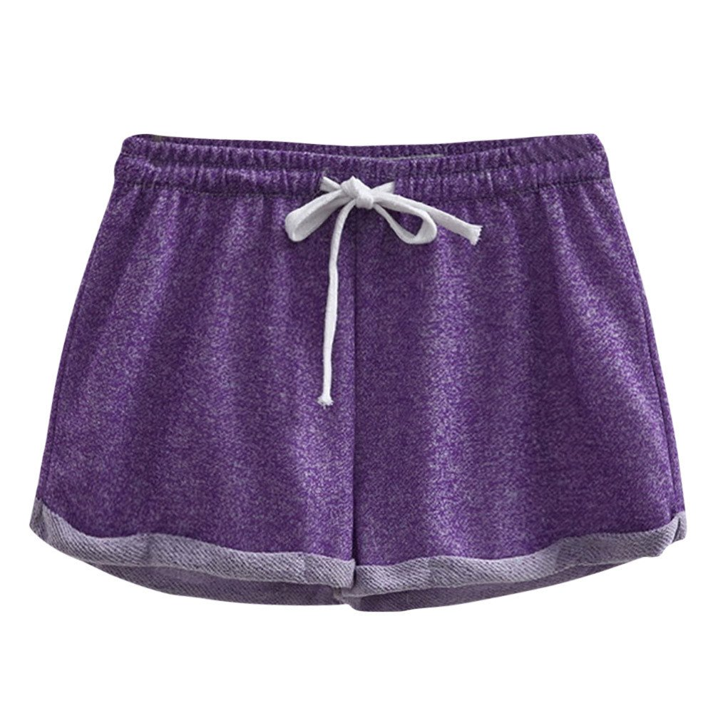 Women Solid Shorts Causal Sexy Home Short Shorts Pants (M, Purple)