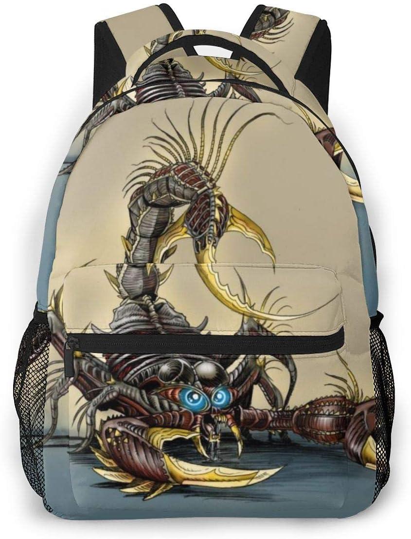 Camping Travel Walking Cycling Backpack Daypack Durable Polyester Anti-Theft Multipurpose Daypack Big Capacity Bookbag, Scorpion Animal Pattern
