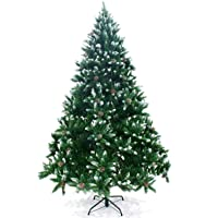 Ariv Green Pinecone Hinged Christmas Tree 8FT 2.4M Bushy 1810 PVC Tips Hinged Branches Automatic Metal Stand Frame Easy Assemblely Chistmas Family Home Holiday Party Mall Store Decoration Ornaments
