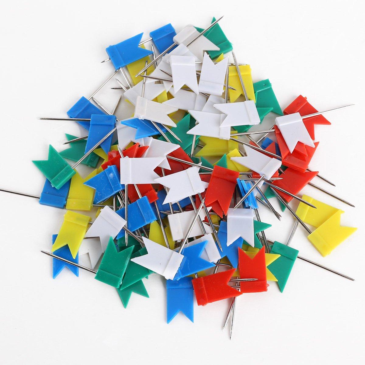 100 x Stecknadeln Landkartennadeln Pinwandnadeln Flagge bunt gemischt F/ähnchen Pinnwandmarkierung Markierungsf/ähnchen Markierungsnadeln B/üro Reise Ziel