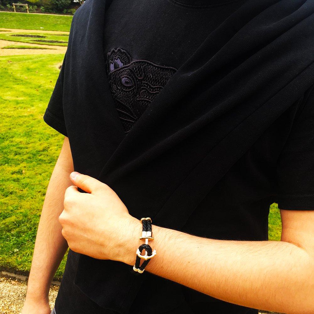 IzuBizu London Mens 18 CT Gold Plated Black Braided Christmas Anchor Bracelet Luxury Gift Box