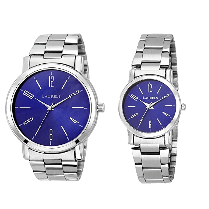 Blue Color Analog Couple's Watch with Metal Chain: LWP-SVT-030707