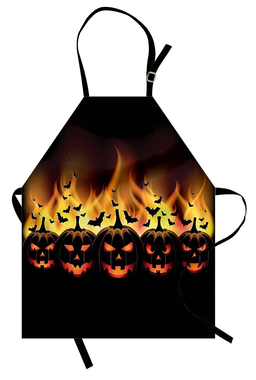 ヴィンテージハロウィンエプロンby lunarable、ハッピーハロウィンイメージwith Jack O Lanterns on Fire with Holiday野球バット、ユニセックスキッチン調節可能なネックよだれかけエプロンfor Cooking Bakingガーデニング、ブラックスカーレット   B0793XN1RL