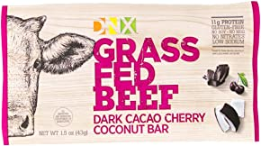 DNX Bar-Grass Fed Beef Whole Food Protein Bar Whole30 Approved-Dark Cacao Cherry Coconut Bar- Organic Fruits and Veggies, Gluten Free, Non-GMO, No Dairy, Paleo Meat Bar.Truly Epic Taste(8 Bars)