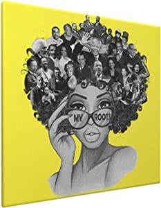 African American Wall Art Yellow Famous People In Black Girl Head Framed Fashion Paintings Poster Canvas Wall Art For Living Room Ready To Hang Home Decor Bedroom Bathroom 16x16 Inch Funny Gifts