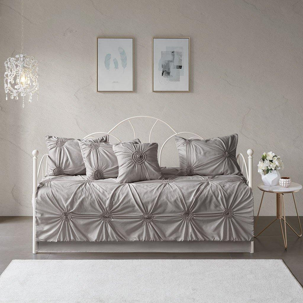 Madison Park Leila 6 Piece Reversible Quilt Set Coverlet Bedding, Day Size, Dark Gray