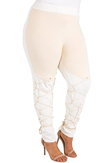 0e697fe4912 Poetic Justice Plus Size Curvy Women s Ivory Ponte Lace Up Suede Trim Pants  Size 1X