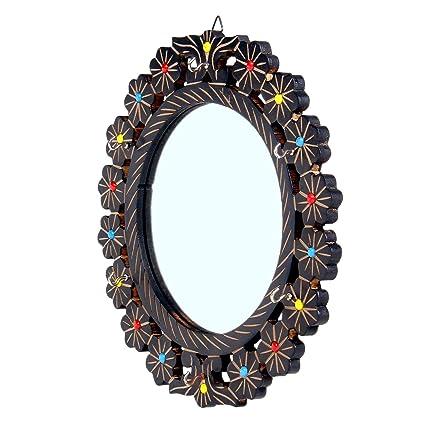 Fab Handicraft Beautiful Wooden Handcrafted Design Round Mirror 12 * 12 Inch (Brown)