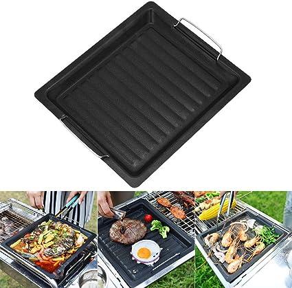 HilMe Placa antiadherente de hierro fundido para barbacoa, parrilla de parrilla de cocina para exteriores, camping, viajes, 25 x 30 cm, color negro