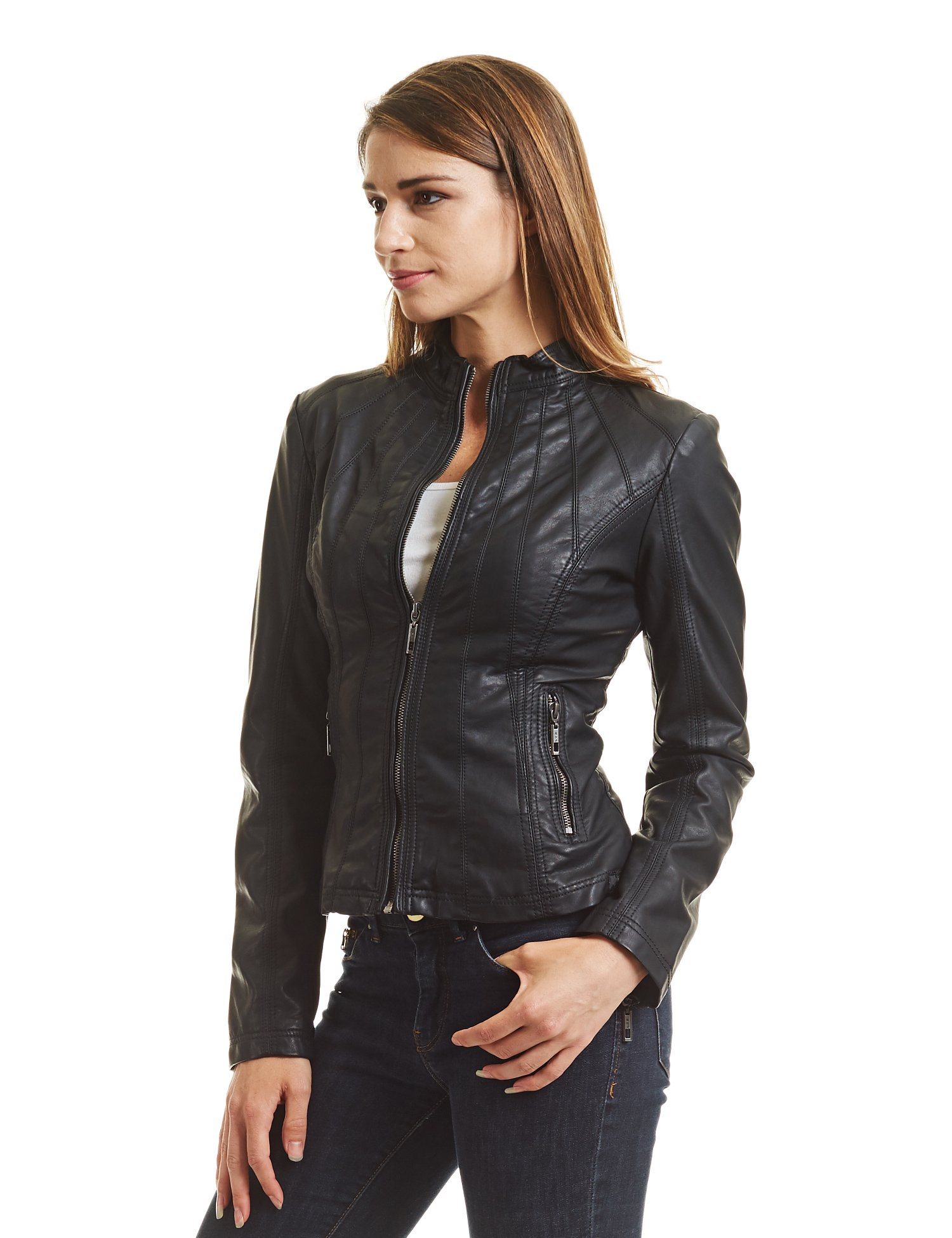 Made By Johnny MBJ WJC877 Womens Panelled Faux Leather Moto Jacket S Black by Made By Johnny (Image #5)