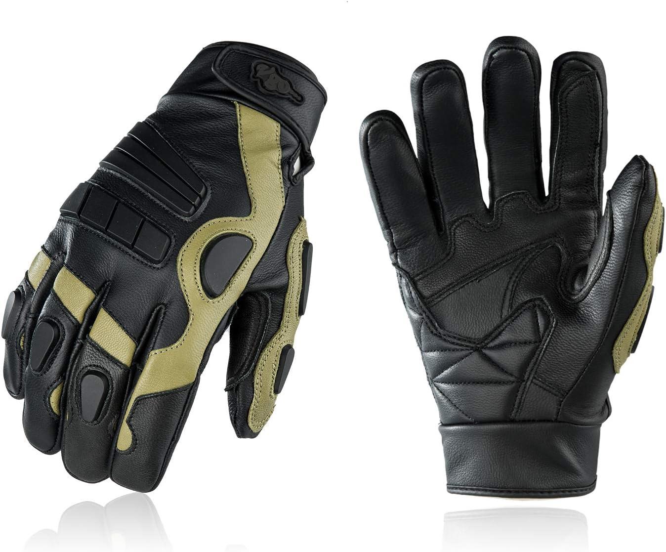 Work Gloves Black w//Green, GA5137F Water Repellent Motorbike Gloves Vgo 1 Pair Mens Genuine Goat Leather Motorcycle Gloves