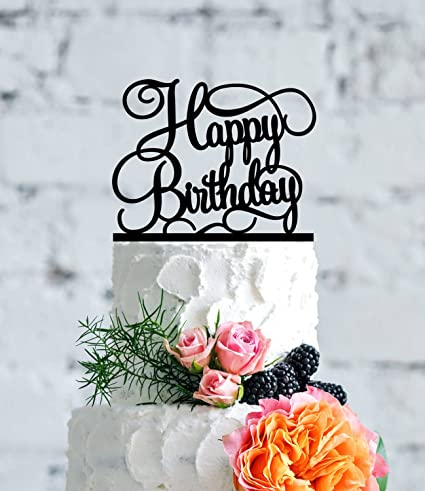 Happy Birthday Cake Topper Script Elegant Gift For