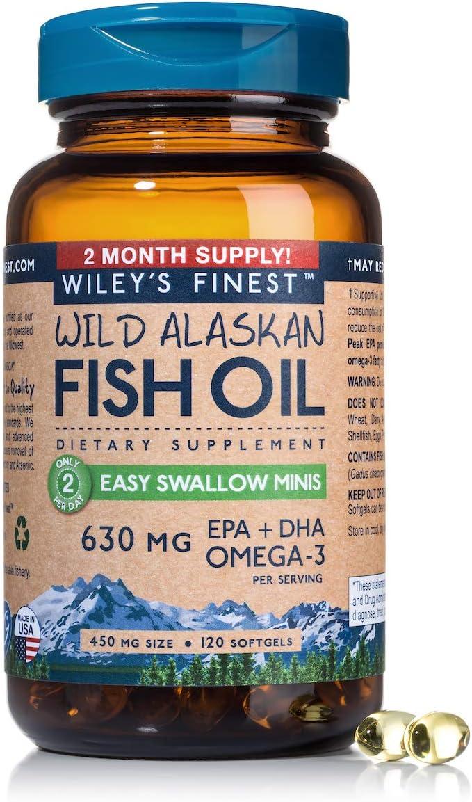 Wild Alaskan Omega-3 Fish Oil - Easy Swallow Minis 2X Double Strength 630mg EPA + DHA Natural Supplement 120 Mini Softgels