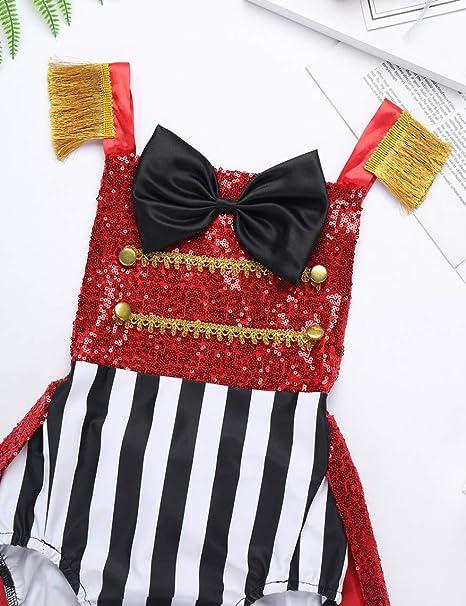 ranrann B/éb/é Fille D/éguisement Cirque Body Paillette Barboteuse Volant Bowknot Combinaison Brillant Costume No?l Halloween Carnaval Tenue Photographie 6 Mois 4 Ans