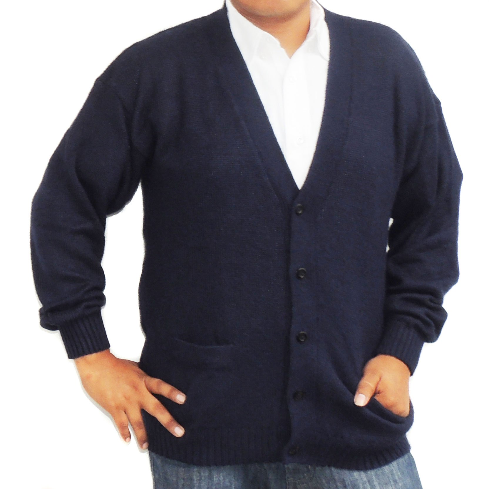 ALPACA CARDIGAN GOLF SWEATER JERSEY V neck buttons and Pockets made in PERU NAVY BUE M by CELITAS DESIGN (Image #1)