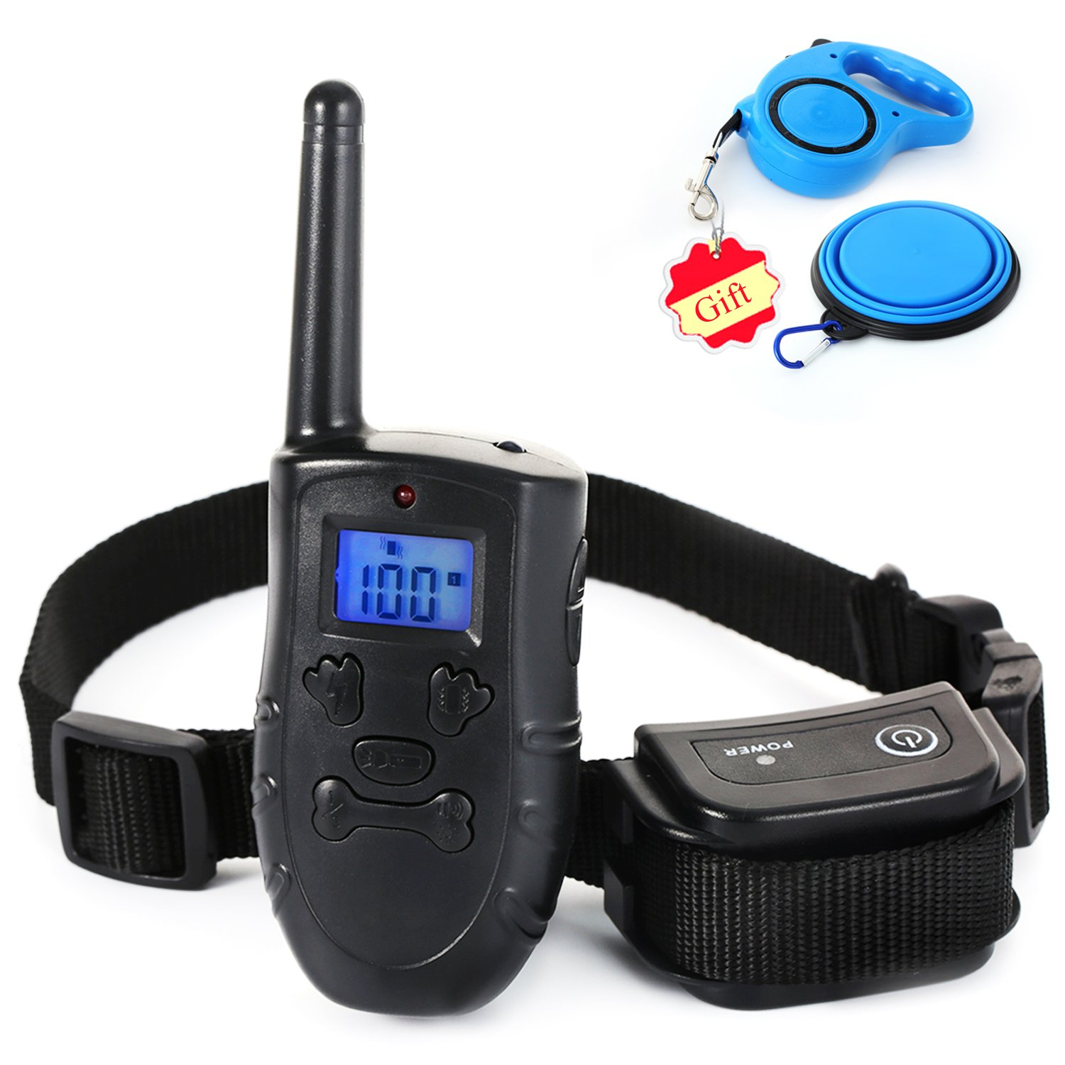 Dog Training Collar,Pet Shock Collar Electronic Rechargeable and Waterproof Remote Training Shock Collar for Dogs Bundle with Collapsible Silicone Dog Bowl & Retractable Dog Leash