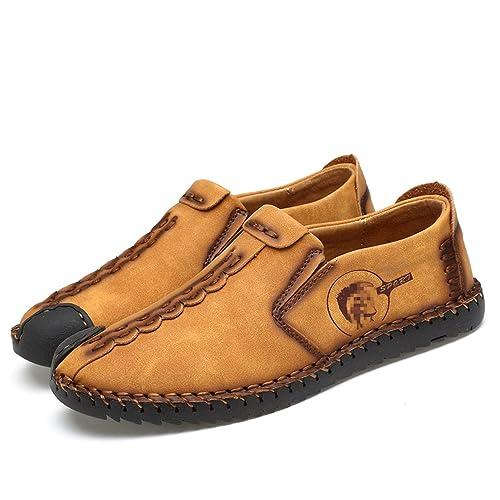 Esthesis Hombre Zapatos de Verano Slip on Mocasines Mocasines Zapatos de Conducción Respirables de Cuero Genuino: Amazon.es: Zapatos y complementos