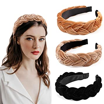 Bascolor Braided Velvet Headband 3pcs Cute Wide Thick Headband Turban​-Accessories trends