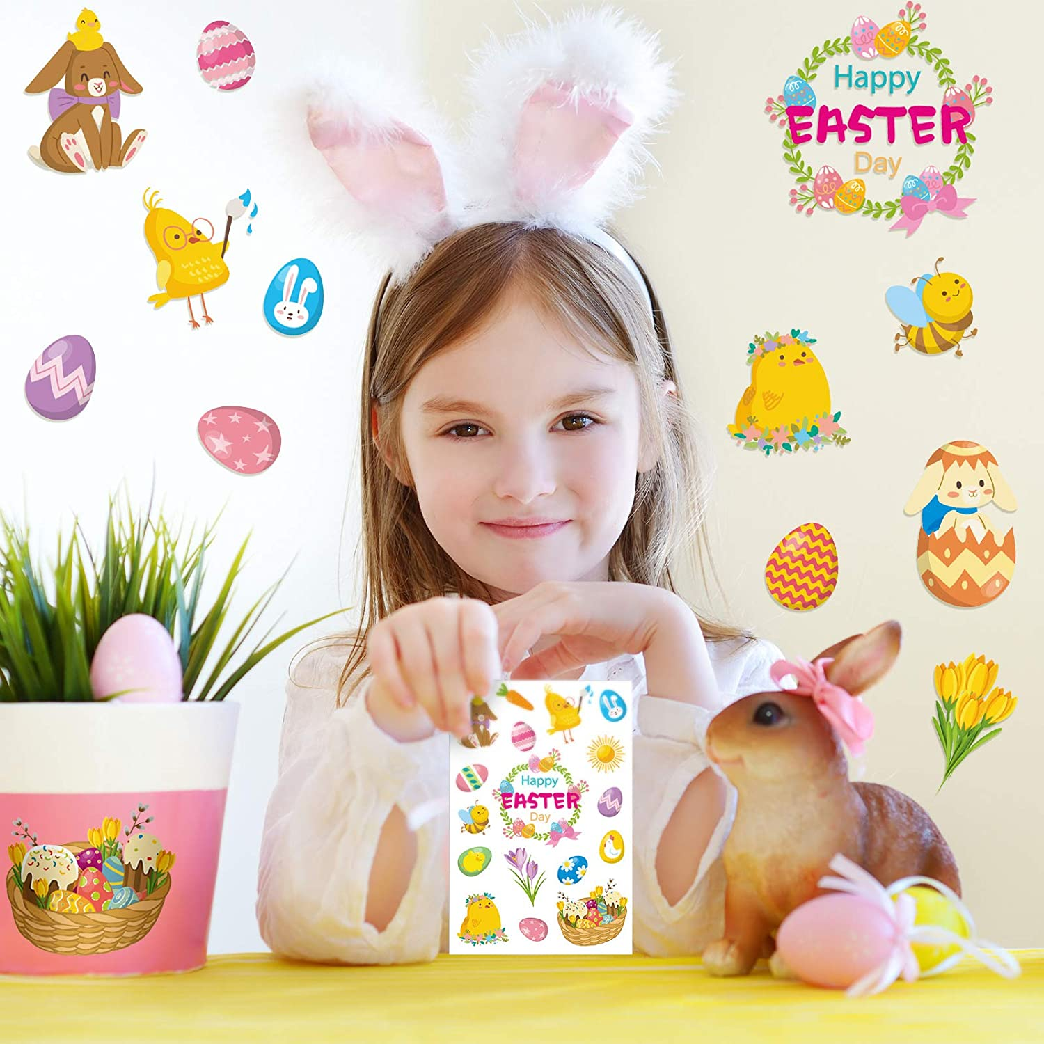 8 Sheets 152 Pieces Easter Stickers Easter Eggs Hunt Bunny Basket Carrot Flowers Decals Cute Holiday Stickers Easter Party Favors for Home Office Kids School Decorations Supplies Stationery