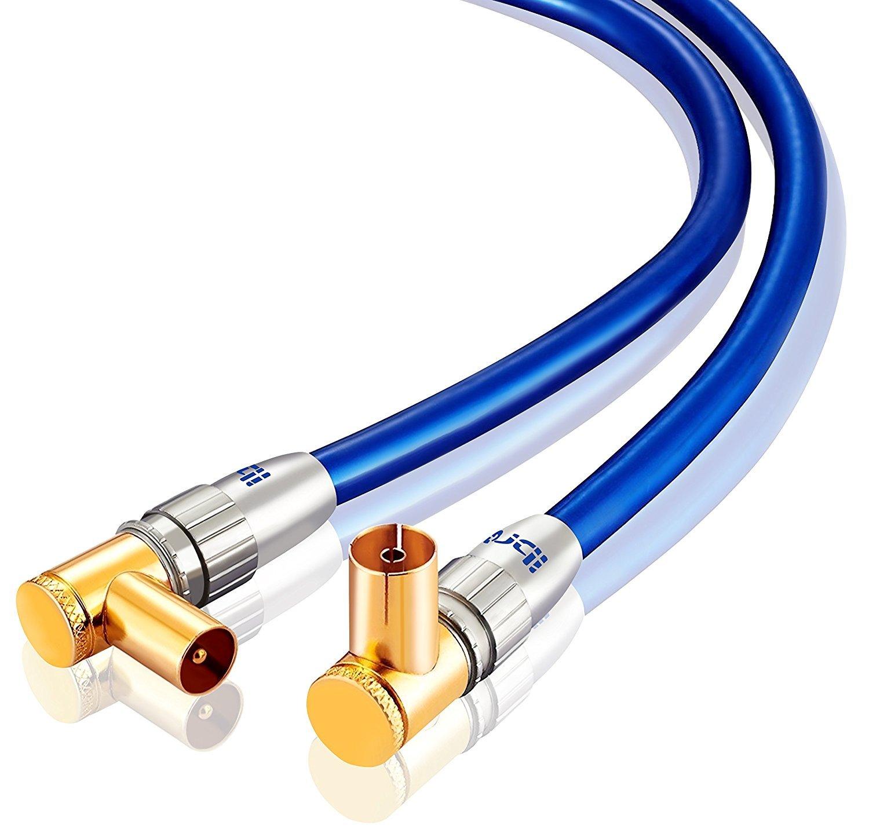 0,5m Cable de Antena HDTV Premium | En ángulo 90° | Resistencia: