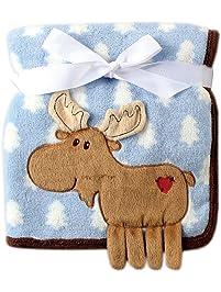 Hudson Baby Coral Fleece 3D Animal Blanket, Blue