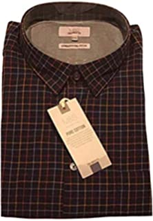 d808051929bf Marks and Spencer Mens Pure Cotton Tailored Fit Long Sleeve Navy Checked Shirt  M S