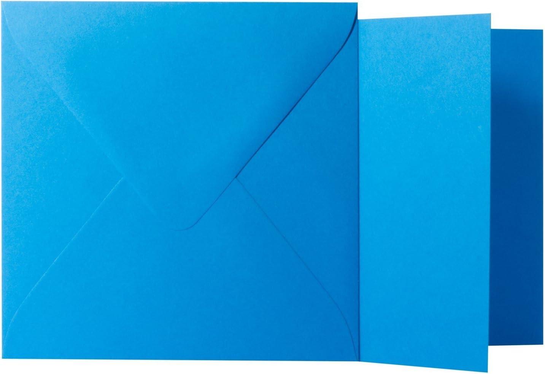 Klappkarten 240g von der Gr/ö/ße 15,5 X 15,5 cm 25 Quadratische Blau Briefumschl/äge 120g von der Gr/ö/ße 16 X 16 cm mit dreieckiger Lasche zum Kleben ohne Fenster