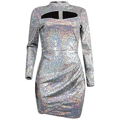 7138040523 Women's Sexy Long Sleeve Sequins Mesh Feather Deep V-Neck Bodycon Cocktail  Club Bar Midi Dress