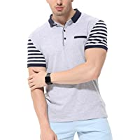 fanideaz Men's Cotton Half Sleeve Striped Polo T Shirt with Collar with Pocket