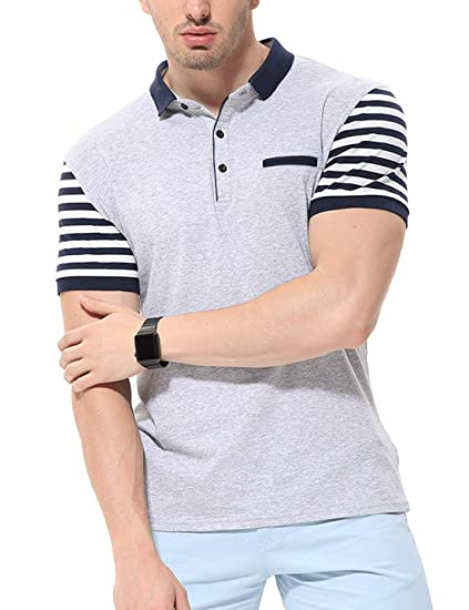 76b7bdc8a fanideaz Men s Cotton Half Sleeve Striped Polo T Shirt with Collar with  Pocket  Amazon.in  Clothing   Accessories