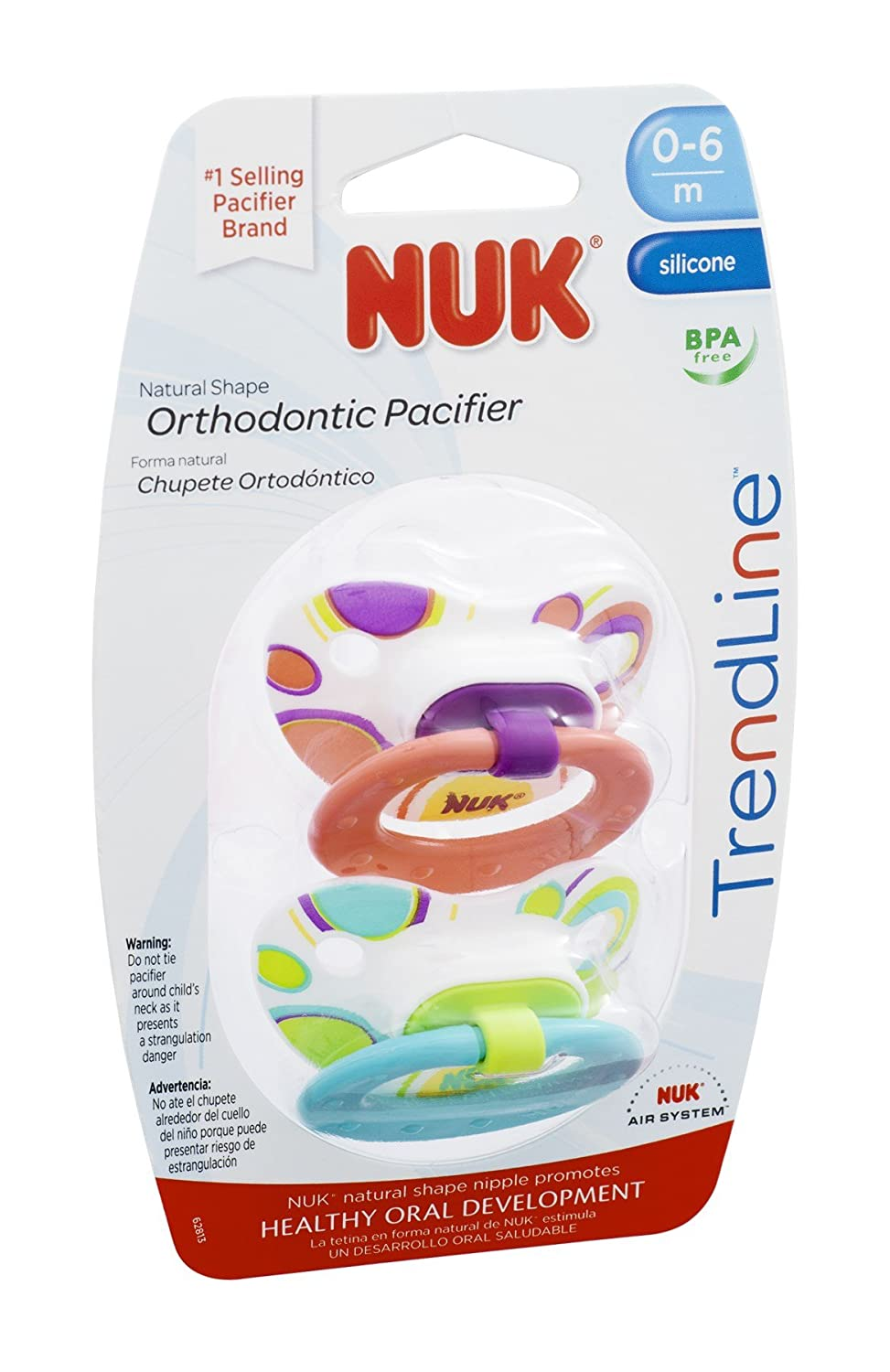 NUK TrendLine Orthodontic Pacifier - 0-6m 2 CT (Pack of 16): Amazon ...