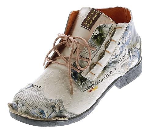 TMA Damen Leder Knöchel Schuhe Stiefeletten Comfort Desert Boots 5330 Halbschuhe Schwarz Weiß Rot Blau