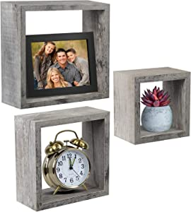 Sorbus Floating Shelves — Hanging Wall Shelves Decoration — Perfect Trophy Display, Photo Frames (Rustic Grey)