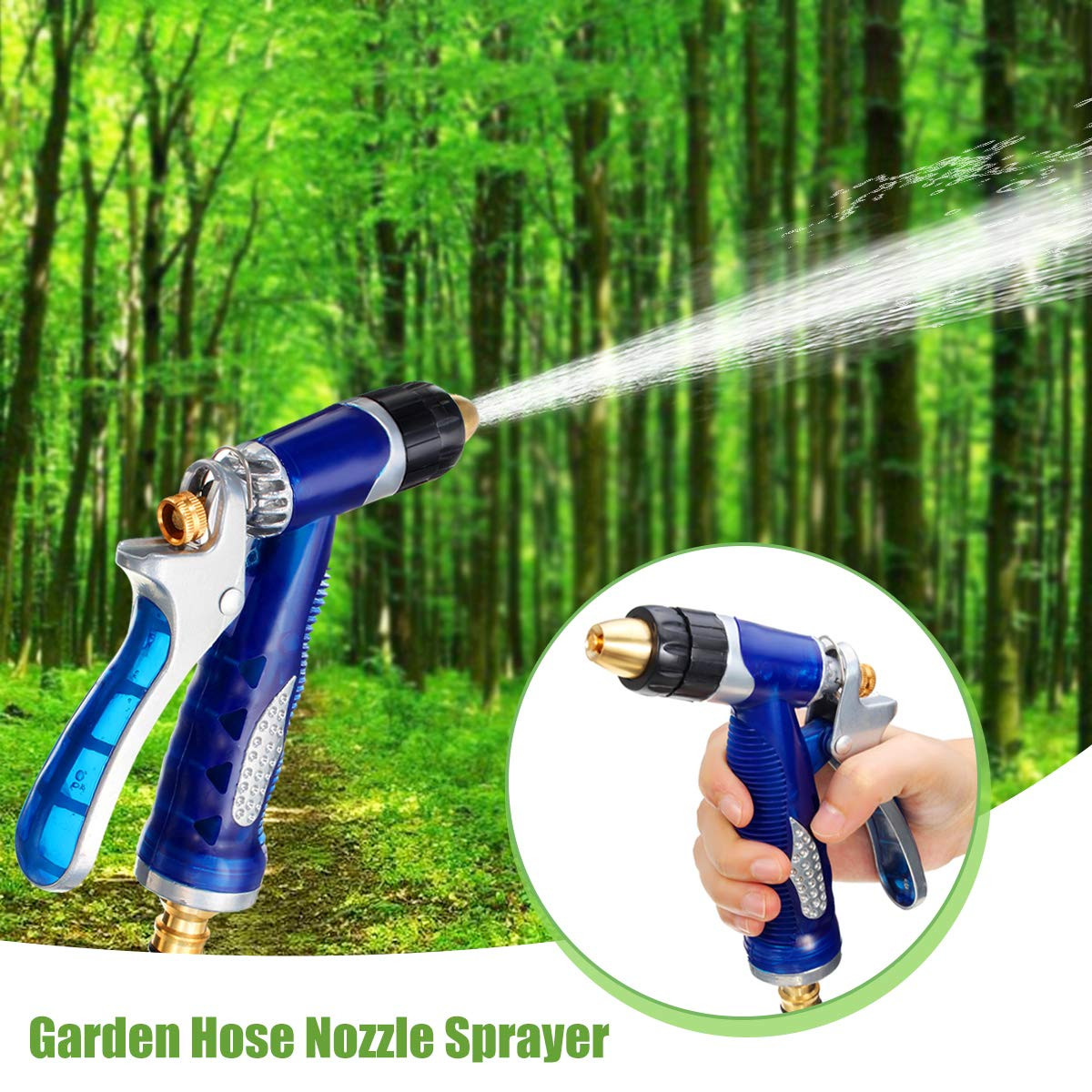 SAFETYON Garden Hose Nozzle Spray Nozzle Multi-Functional Adjustable Metal Watering Nozzle High Pressure Hand Sprayer Ideal Watering Your Garden, Lawn, Flower Beds Washing Your Car, Pets Ground