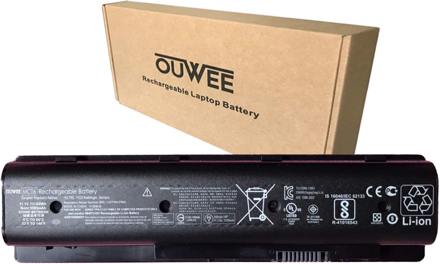 OUWEE MC06 Laptop Battery Compatible with Hp Envy 15 17 15-ae100 17-n000 TPN-C123 15-ae100na Series HSTNN-PB6R HSTNN-PB6L MC04 807231-001 804073-851 805095-001 806953-851 11.1V 62Wh 5100mAh