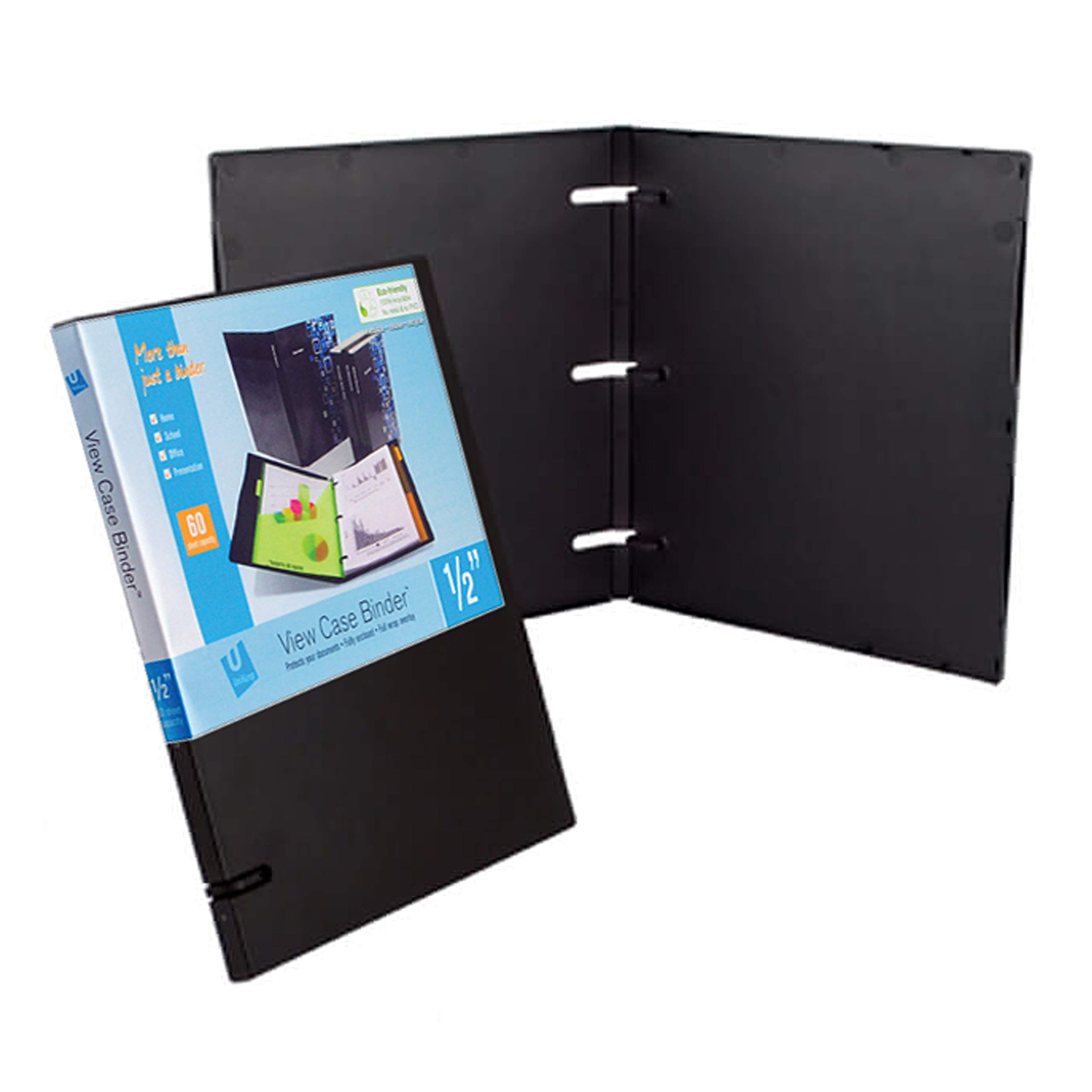 UniKeep 3 Ring Binder - Black - Case View Binder - 0.50 Inch Spine - With Clear Outer Overlay - Pack of 3 Binders