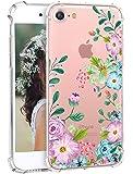 iPhone 7 软手机壳Hepix 透明复古花卉图案 TPU 后盖 [4.7 英寸]K0323-i7-D Floral A