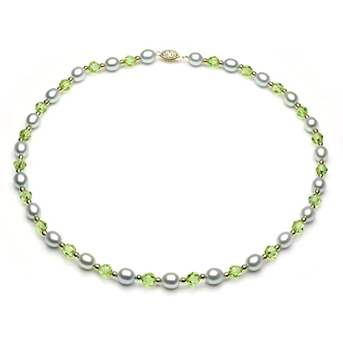 La Regis Jewelry 14K Yellow Gold 7-7.5mm Dyed-Blue Freshwater Cultured Pearl, Simulated Dyed-Green Crystal Necklace, 17