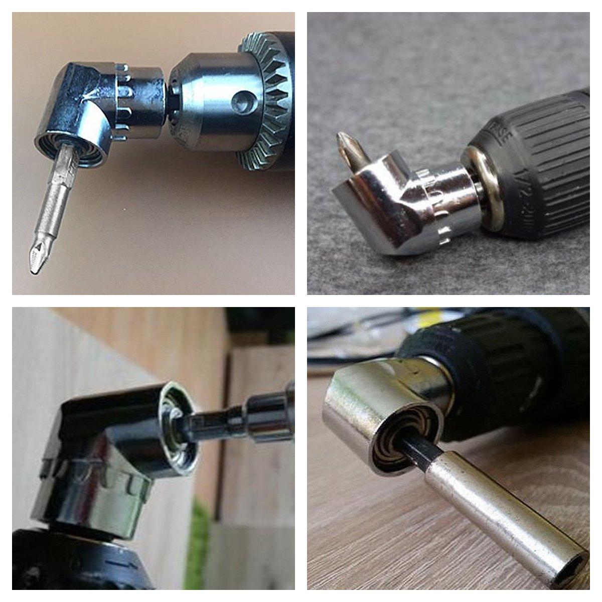 inch Perceuse Camtek 2 Pi/èce Perceuses /à Angle Droit Adaptateur coud/é Pilote et Tournevis Drill Attachment Avec Porte-Embout Magn/étique Changement Rapide Hex 6mm de 1//4
