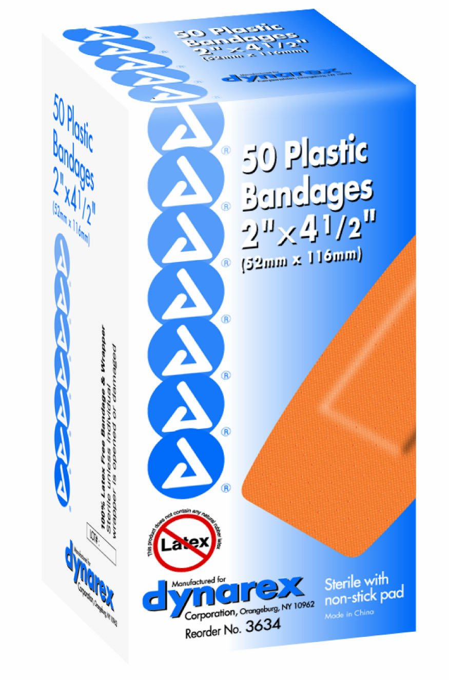 Dynarex Adhesive Plastic Bandage, Extra Large, 2 Inches x 4.5 Inches, Sterile, 50 Count (Pack of 2)