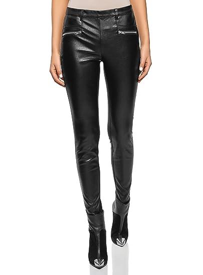 oodji Ultra Femme Pantalon Combiné en Similicuir avec Zips  Amazon.fr   Vêtements et accessoires 9cb6ca4af871