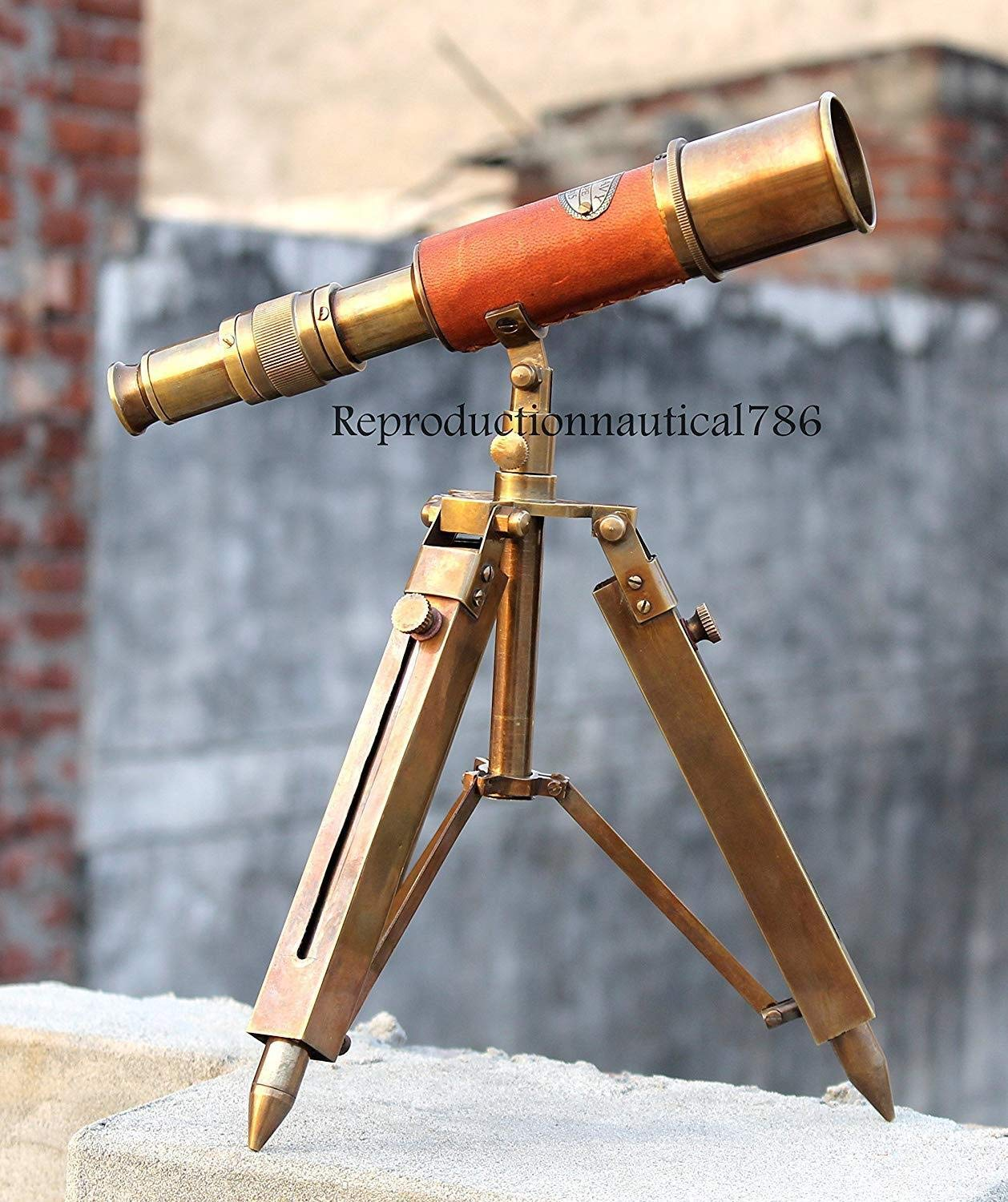 Arsh Nautical Brass Antique Marine Collectibles Navy Leather Telescope with Tripod Stand A