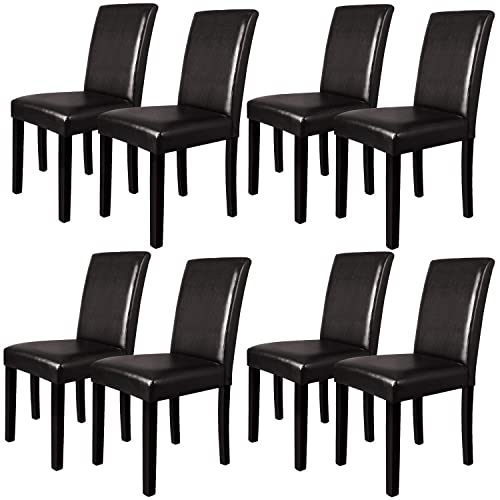 Furgle Dining Chairs Set of 8, Oak Wood Dining Room Side Chair with Upholstered Back and Seat Covered PU Leather, Brown