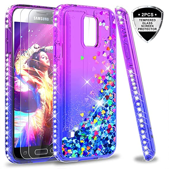 02820c90404 Galaxy S5 Case, S5 Glitter Case with Tempered Glass Screen Protector [2 Pack ]
